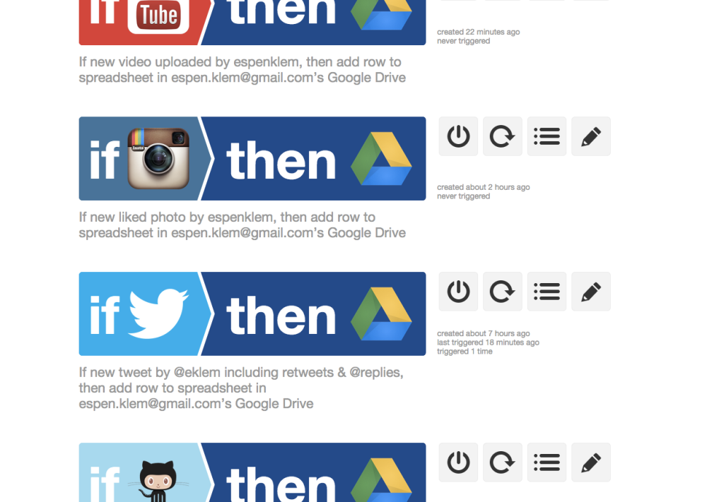 Illustration: Setting up sources in IFTTT.